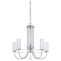 Cascade 5 Light 22 inch Chrome Chandelier Ceiling Light in White Frosted Glass