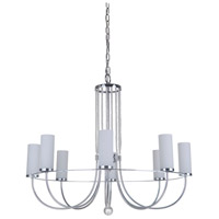 Cascade 8 Light 28 inch Chrome Chandelier Ceiling Light in White Frosted Glass