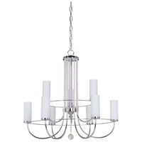 Cascade 9 Light 26 inch Chrome Chandelier Ceiling Light in White Frosted Glass
