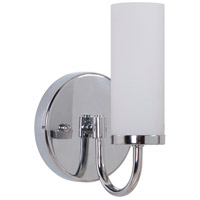 Cascade 1 Light 5 inch Chrome Wall Sconce Wall Light in White Frosted Glass