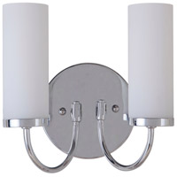 Cascade 2 Light 9 inch Chrome Wall Sconce Wall Light in White Frosted Glass