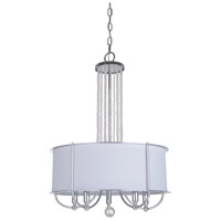 Cascade 5 Light 18 inch Chrome Pendant Ceiling Light in White Linen