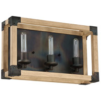 Cubic 3 Light 19 inch Fired Steel and Natural Wood Vanity Light Wall Light
