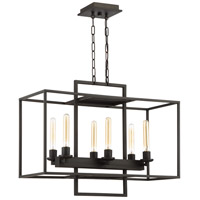 Cubic 6 Light 30 inch Aged Bronze Brushed Linear Chandelier Ceiling Light