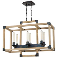 Cubic 6 Light 30 inch Fired Steel and Natural Wood Linear Chandelier Ceiling Light