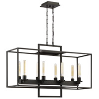 Cubic 8 Light 36 inch Aged Bronze Brushed Linear Chandelier Ceiling Light