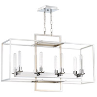 Cubic 8 Light 36 inch Chrome Linear Chandelier Ceiling Light