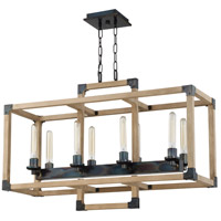 Cubic 8 Light 36 inch Fired Steel and Natural Wood Linear Chandelier Ceiling Light