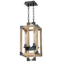 Cubic 4 Light 11 inch Fired Steel and Natural Wood Foyer Light Ceiling Light