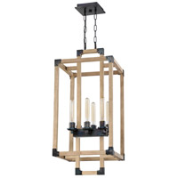 Cubic 6 Light 16 inch Fired Steel and Natural Wood Foyer Light Ceiling Light