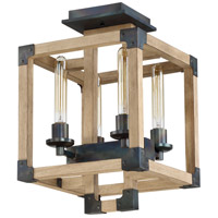 Cubic 4 Light 13 inch Fired Steel and Natural Wood Semi Flush Mount Ceiling Light