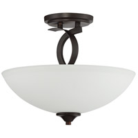 Sierra 3 Light 14 inch French Bronze Semi Flush Ceiling Light in Etched