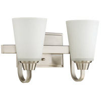Craftmade 41902-BNK Grace 2 Light 14 inch Brushed Polished Nickel Vanity Light Wall Light, Jeremiah