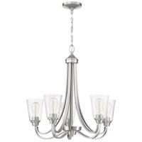 Craftmade 41925-BNK-CS Grace 5 Light 26 inch Brushed Polished Nickel Chandelier Ceiling Light in Clear Seeded Neighborhood Collection