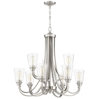 Craftmade 41929-BNK-CS Grace 9 Light 32 inch Brushed Polished Nickel Chandelier Ceiling Light in Clear Seeded Neighborhood Collection