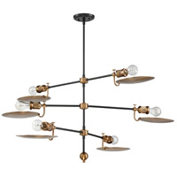 Craftmade 42326-FBPAB Eclipse 6 Light 44 inch Flat Black and Patina Aged Brass Chandelier Ceiling Light in Flat Black and Patina Aged Bronze