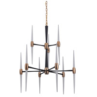 Spire LED 29 inch Flat Black and Satin Brass Chandelier Ceiling Light