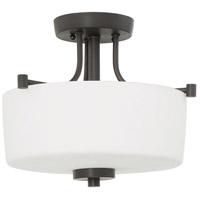 Clarendon 3 Light 13 inch Aged Bronze Brushed Semi-Flushmount Ceiling Light, Convertible to Pendant