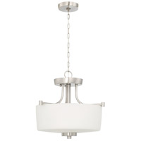 Clarendon 3 Light 13 inch Brushed Polished Nickel Semi-Flushmount Ceiling Light, Convertible to Pendant