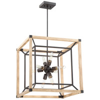Craftmade 43738-TBDO Tesseract 8 Light 21 inch Textured Black with Distressed Oak Chandelier Ceiling Light