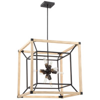 Tesseract 8 Light 24 inch Textured Black with Distressed Oak Chandelier Ceiling Light