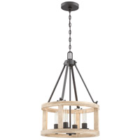 Craftmade 44094-CIDO Astoria 4 Light 18 inch Cast Iron with Distressed Oak Pendant Ceiling Light