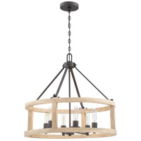 Craftmade 44096-CIDO Astoria 6 Light 26 inch Cast Iron with Distressed Oak Pendant Ceiling Light