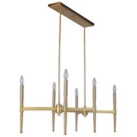 Ella 6 Light 22 inch Satin Brass Chandelier Ceiling Light