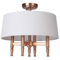 Ella 4 Light 18 inch Satin Brass Semi Flush Mount Ceiling Light