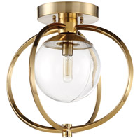 Piltz 1 Light 15 inch Satin Brass Semi-Flushmount Ceiling Light