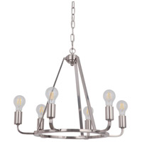 Craftmade 45926-PLN Arc 6 Light 23 inch Polished Nickel Chandelier Ceiling Light