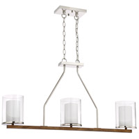 Craftmade 46473-PLNWB Lark 3 Light 38 inch Polished Nickel and Whiskey Barrel Island Light Ceiling Light