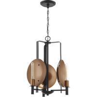 Craftmade 46523-MBKSCP Candela 3 Light 17 inch Matte Black and Satin Copper Chandelier Ceiling Light