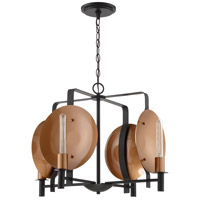 Candela 4 Light 25 inch Matte Black and Satin Copper Chandelier Ceiling Light