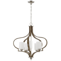 Craftmade 46725-PLNWF Jasmine 5 Light 26 inch Polished Nickel and Weathered Fir Chandelier Ceiling Light