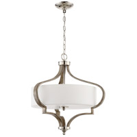 Craftmade 46793-PLNWF Jasmine 3 Light 22 inch Polished Nickel and Weathered Fir Pendant Ceiling Light