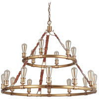 Craftmade Vintage Brass Leather Huxley Chandeliers