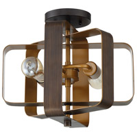 Linked 2 Light 14 inch Aged Bronze Brushed Semi-Flushmount Ceiling Light