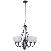 Craftmade 49925-ESP-WG Serene 5 Light 25 inch Espresso Chandelier Ceiling Light in White Frost Glass Neighborhood Collection