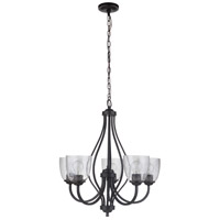 Craftmade 49925-ESP Serene 5 Light 25 inch Espresso Chandelier Ceiling Light in Clear Seeded Neighborhood Collection