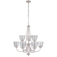 Craftmade 49929-BNK Serene 9 Light 30 inch Brushed Polished Nickel Chandelier Ceiling Light in Clear Seeded Neighborhood Collection