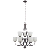 Craftmade 49929-ESP-WG Neighborhood Serene 9 Light 30 inch Espresso Chandelier Ceiling Light in White Frost Glass Neighborhood Collection