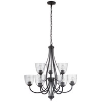 Craftmade 49929-ESP Serene 9 Light 30 inch Espresso Chandelier Ceiling Light in Clear Seeded Neighborhood Collection