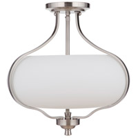 Craftmade 49952-BNK-WG Serene 2 Light 15 inch Brushed Polished Nickel Semi Flush Ceiling Light in White Frost Glass Neighborhood Collection