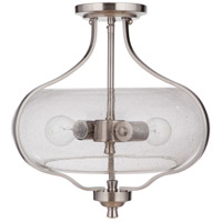 Craftmade 49952-BNK Serene 2 Light 15 inch Brushed Polished Nickel Semi Flush Ceiling Light in Clear Seeded Neighborhood Collection