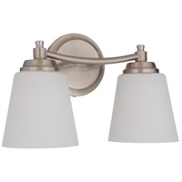 Craftmade 50202-BNK-WG Neighborhood Tyler 2 Light 14 inch Brushed Polished Nickel Vanity Light Wall Light in White Frost Glass Neighborhood