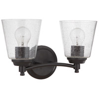 Craftmade 50202-FB Tyler 2 Light 14 inch Flat Black Vanity Light Wall Light in Clear Seeded Neighborhood Collection
