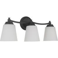 Craftmade 50203-FB-WG Tyler 3 Light 23 inch Flat Black Vanity Light Wall Light in White Frost Glass Neighborhood Collection