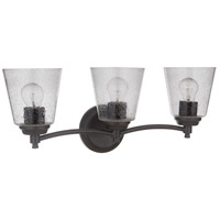 Craftmade 50203-FB Tyler 3 Light 23 inch Flat Black Vanity Light Wall Light in Clear Seeded Neighborhood Collection