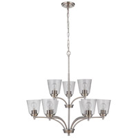Craftmade 50229-BNK Neighborhood Tyler 9 Light 32 inch Brushed Polished Nickel Chandelier Ceiling Light in Clear Seeded, Neighborhood Collection